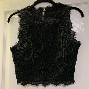 Black Woven Cropped Top
